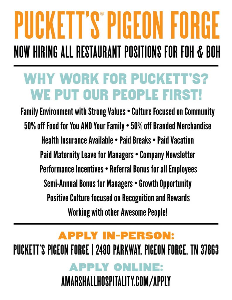Puckett's Pigeon Forge Now Hiring!